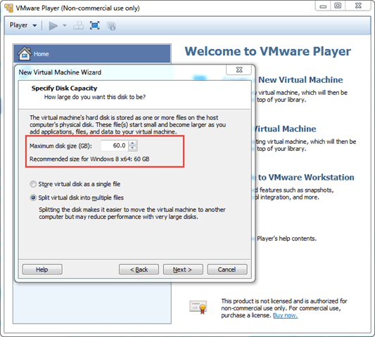 Installing windows 8 in virtual machine using VMware Player