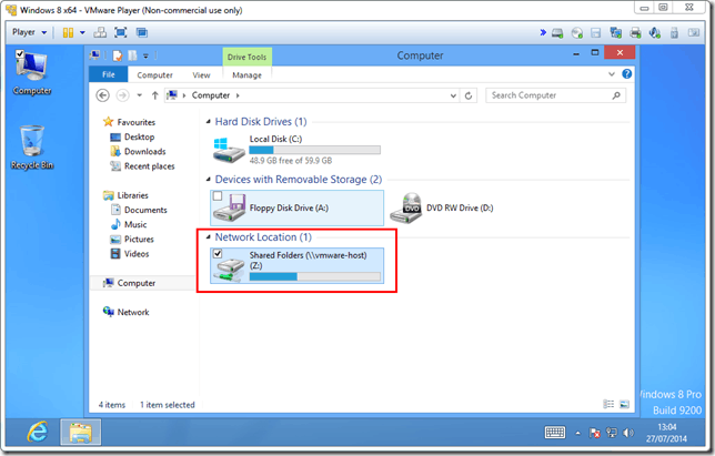 Sharing Host folder with VMWare Player